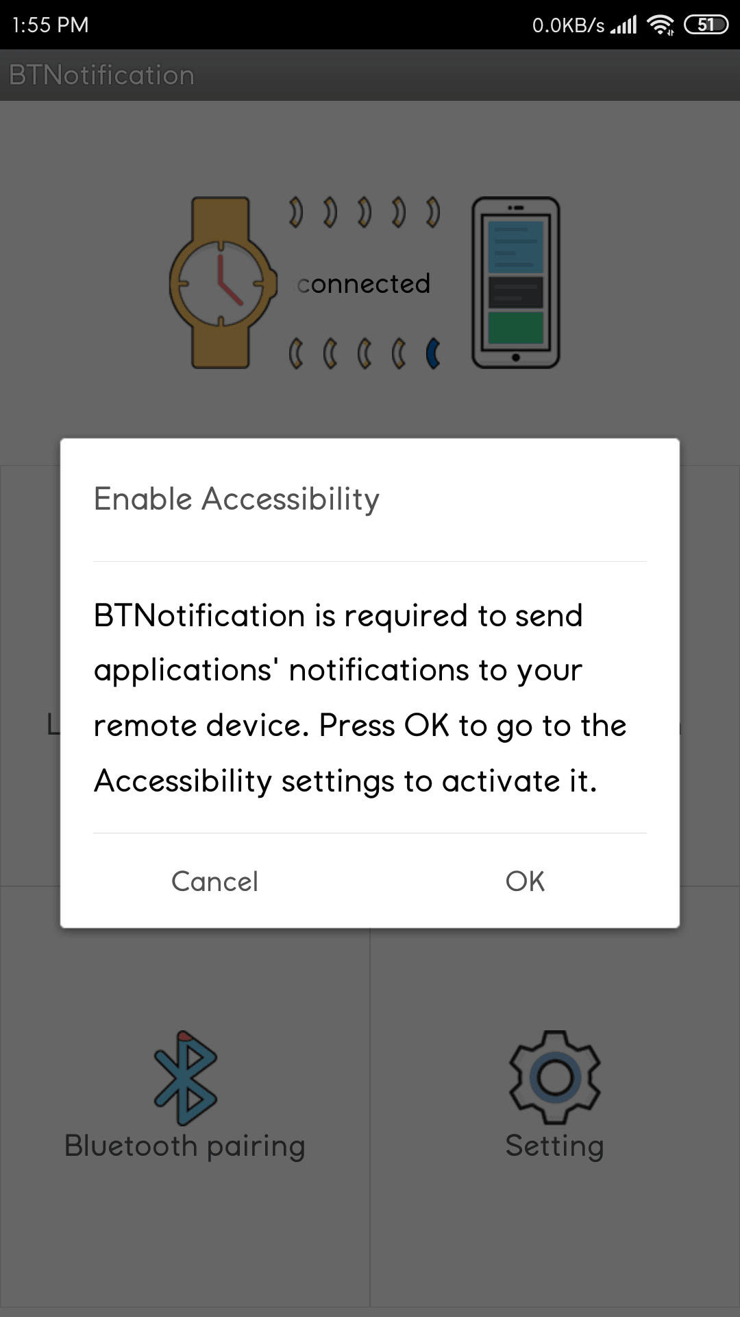 BT Notification App Enable Accessibility Settings
